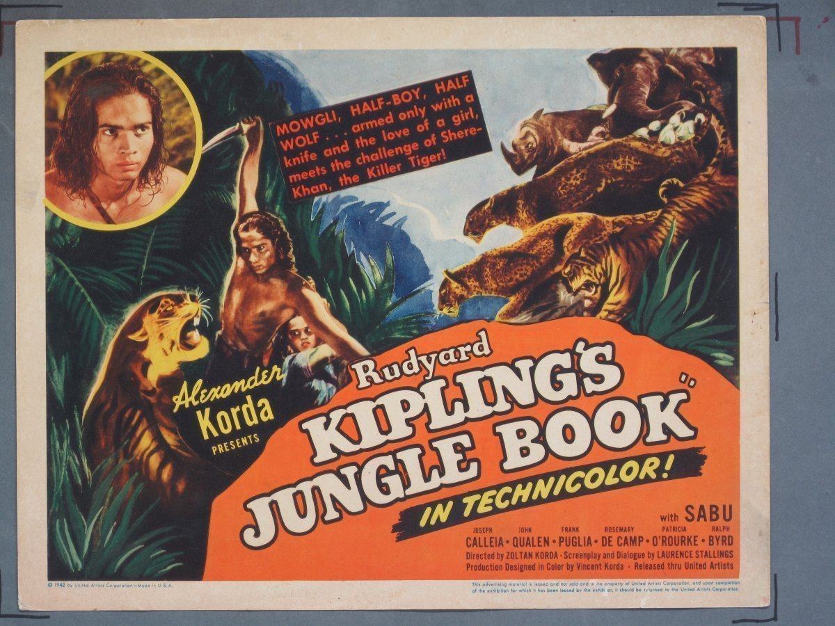 JUNGLE BOOK (United Artists) 1942 Title Card For Sale