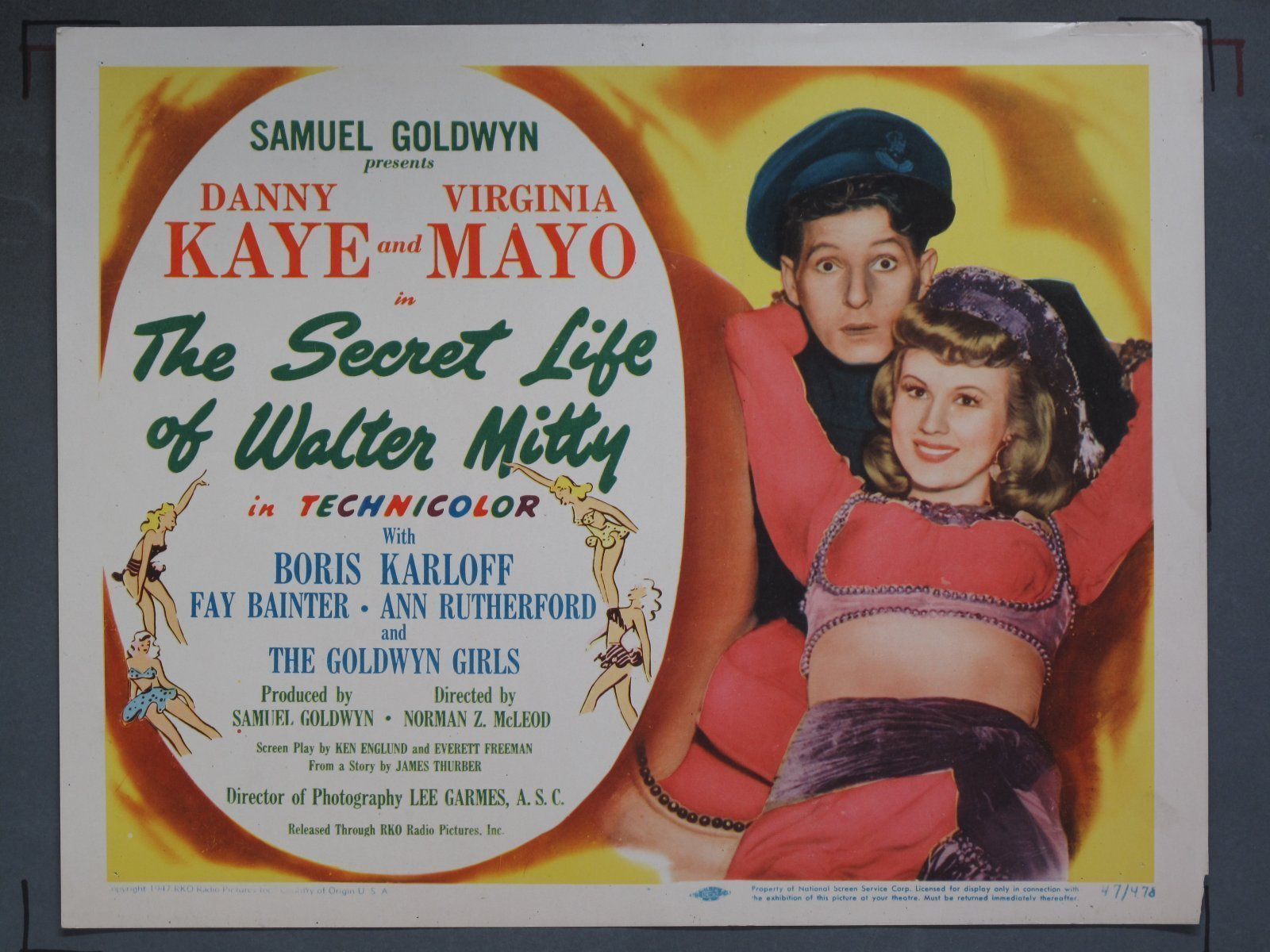SECRET LIFE OF WALTER MITTY (Goldwyn) 1947 Title Card +(7) Lobby ...
