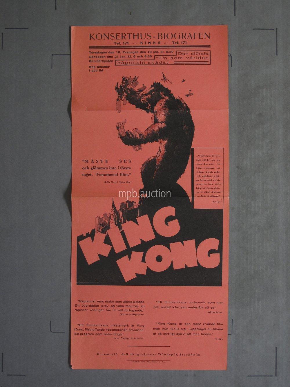 King Kong 1933 Original Swedish Movie Poster