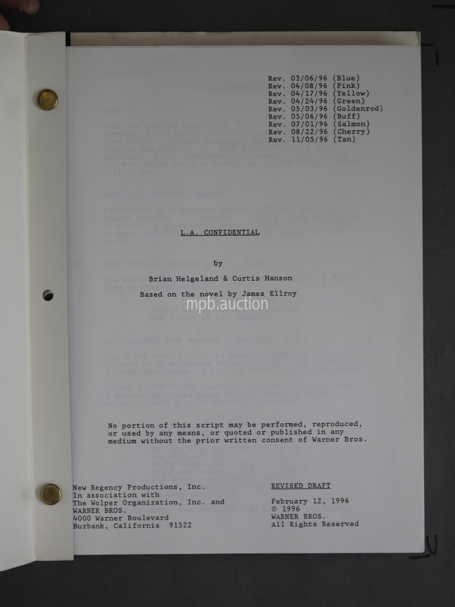 L A  CONFIDENTIAL (1997) Awards Presentation Film Script